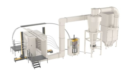 Example for automatic powder coating systems by WAGNER including powder booth and powder center (E-Line application solution) .